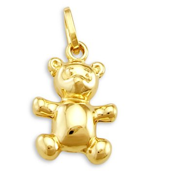 Teddy Bear Charm 14k Yellow Gold Animal Charm 1.00 (14k Gold Fashion Bear)