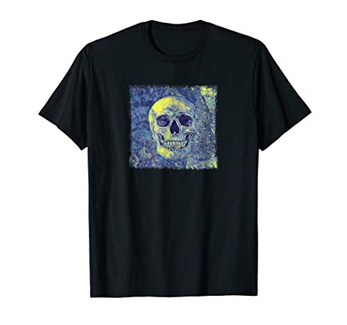 Starry Night Skull Altered Art Mashup T Shirt
