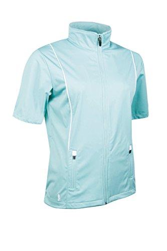 Ladies Windshirt - Glenmuir Ladies LW2538 Zip Front Half Sleeve Piping Detail Wind Jacket-Duck Egg/White-Medium