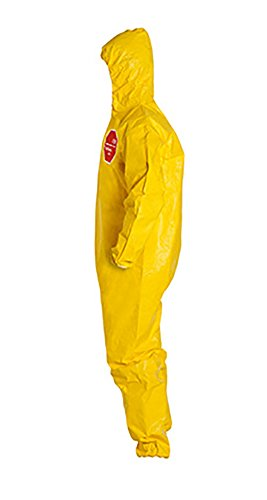 DuPont Tychem 2000 QC127S Disposable Chemical Resistant Coverall with Hood, Elastic Cuff and Serged Seams, Yellow, X-Large (Pack of 12) by DuPont (Image #2)