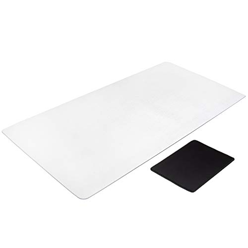 Awnour Clear Desk Pad, Non-Slip, Round Edges, 34 x 17 inches, Writing Mat, Desk Mat, Textured, Mouse Pad Included (Glass Desk Protector)