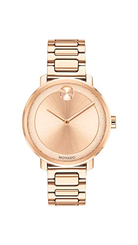 Movado Women's BOLD Sugar Dial Rose Gold Watch with Flat Dot, Gold/Pink (Model 3600503)