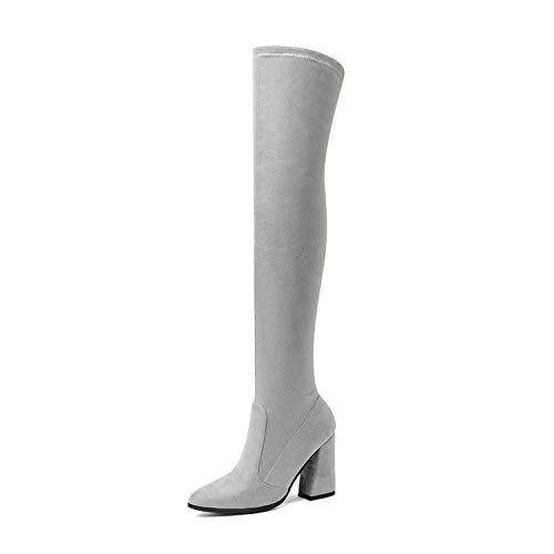 Women Over The Knee High Boots Fashion All Match Pointed Toe Winter Shoes Match Women Boots Size,Light Grey,12 (My Life Doll Gray Boots)