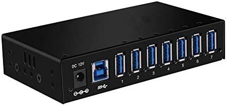 QLPP Hub USB 3.0, Caja de Metal montable 7-Port Powered Hub USB 3.0 con Adaptador de energía de 12V / 3A: Amazon.es: Hogar