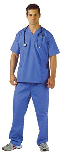 Underwraps Mens Doctors Nurses Blue Scrubs Theme Party Medical Costume, XX-Large (48-50) (Plus Size Doctor Scrubs Costumes)