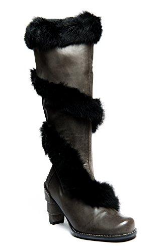 Eject Damen Stiefel grau Leder mit Fell schwarz edel