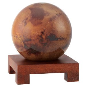 4.5'' Mars MOVA Globe with Square Base in Natural Wood
