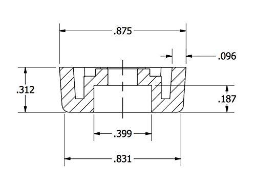250 Clear Medium Round Rubber FEET .312 H x .875 W - Cutting Boards - US Made