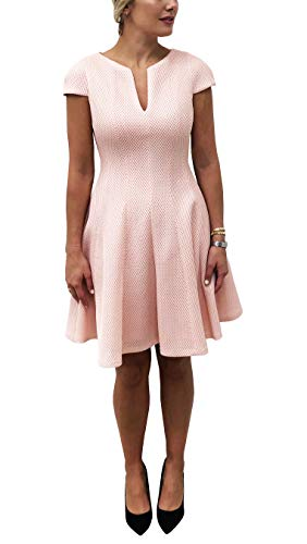 (Julia Jordan Women's Bonded Mesh Notch Collar Cap Sleeve Fit and Flare Dress with Pockets)