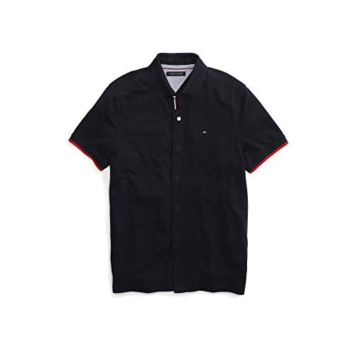 Tommy Hilfiger Men's Adaptive Polo Shirt with Magnetic Buttons Custom Fit, Navy Blazer, - Magnetic Buttons Custom
