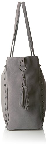LOEFFLER Bag Dark RANDALL Grey Studded Shoulder Tote Split Black Suede qURW6qg