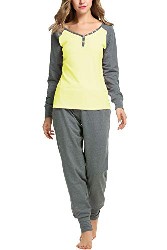 - Sweetnight Women's Boat Neck Long Sleeve Shirt Elastic Waist Pants Sleepwear Pajamas Set (S, Yellow)