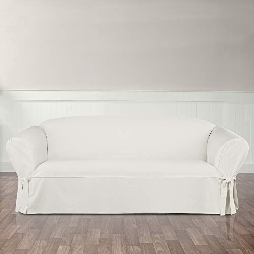 Surefit Essential Twill Straight Skirt One Piece Sofa Slipcover, White