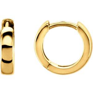 14K jaune 11,5mm Boucles d'oreilles créoles à charnière
