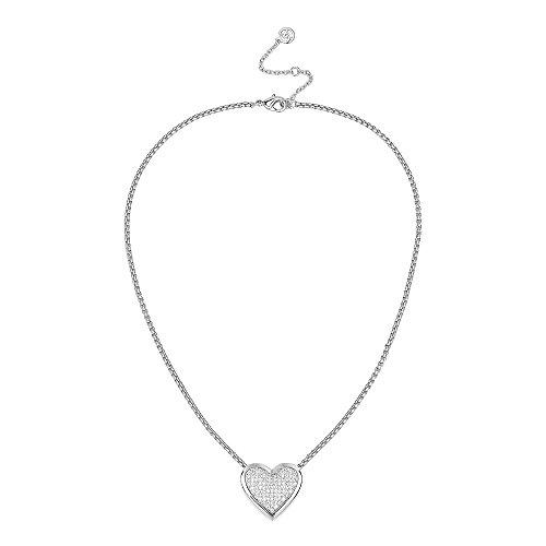 BIJOUX BOBBI Micro Pave Cubic Zirconia Heart Pendant Necklace (Silver Tone)