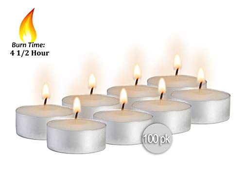 (Ner Mitzvah Tea Light Candles - 100 Bulk Pack - White Unscented Travel, Centerpiece, Decorative Candle - 4.5 Hour Burn Time - Pressed Wax)