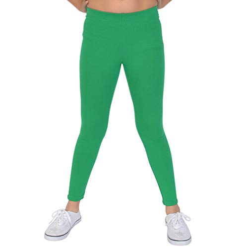 Stretch is Comfort Girl's Cotton Footless Leggings Kelly Green Medium