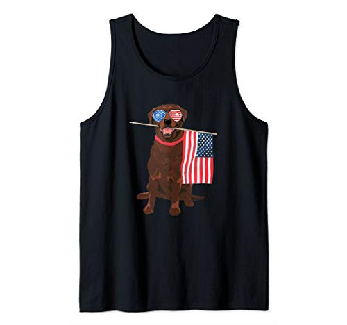 Funny Chocolate Lab American Flag Dog T-Shirt 4th Of July Tank Top