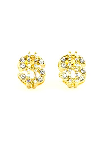 Crystal Dollar Sign Earrings Gold Tone Money Bling Wealth Studs EH72 Fashion Jewelry