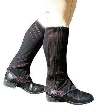 Dublin Ladies Easy Care Contrast Stich Half Chaps - Size:XLarge Color:Black/Purp ()