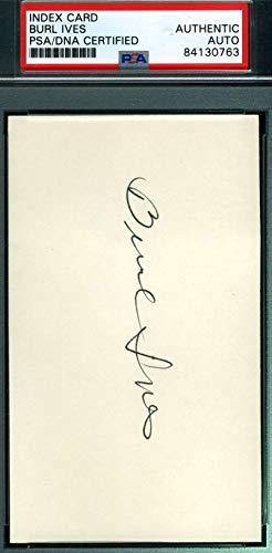 (BURL IVES PSA DNA Coa Hand Signed 3x5 Index Card Autograph)