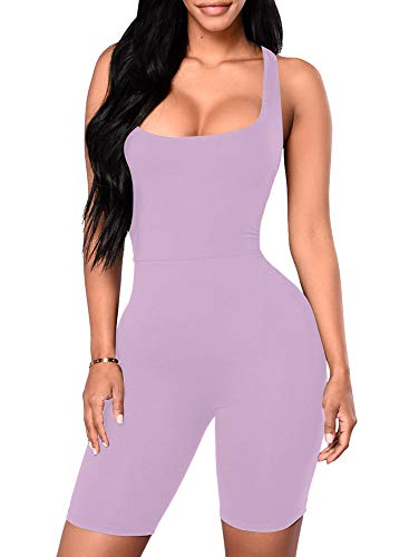 YMDUCH Women's Sexy One Piece Tank Top Backless Bodycon Club Short Jumpsuit Lavender2