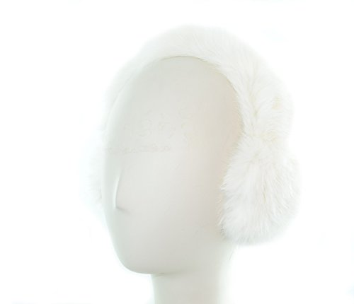 - Surell Genuine White Soft Rabbit Fur Earmuffs with All Fur Non Adjustable All Fur Head Band - Winter Fashion Ear Warmers - Perfect Elegant Women's Luxury Gift