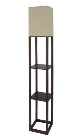 Threshold Shelf Floor Lamp   Brown (Walnut) With Ivory Shade (Includes CFL  Bulb