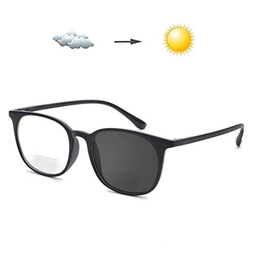 Photochromism Gray Bifocal Reading Glasses +2.75 Strength Men Women Lightweight