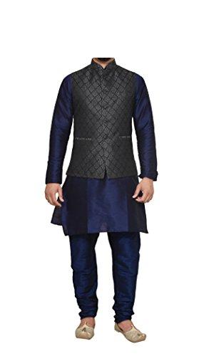 (Mag Men's Nevy Blue Matching silk Kurta Churidhar With Black 2nd Waistcoat (RG-10650-40))