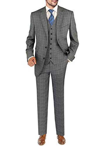 DTI BB Signature Italian Wool Men's Vested Suit 3-Piece Extra Pant Total 4-Piece (46 Long US / 56L EU/W 40