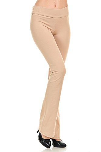 Fold Over Fitness Pant - JDJ CO. Women's Cotton Solid Color Bootcut Length Fold Over Waistband Yoga Pants (L, Khaki)