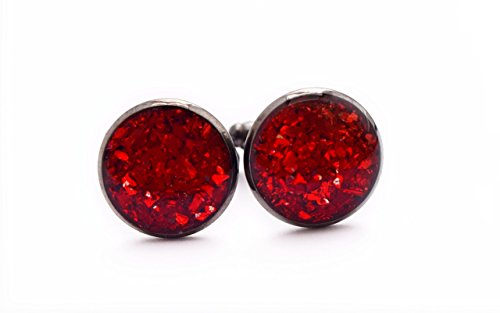 Handmade Red Crushed Glass Cufflinks - Suit Accessories