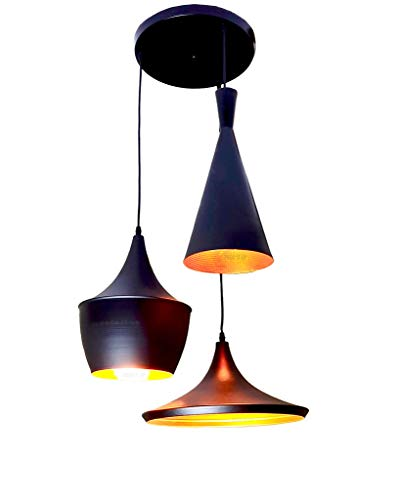 Prop It Up 120W Vintage Metal Round Hanging Triple , Pendant Ceiling Light and Lamp (Bulbs not Included) – Black
