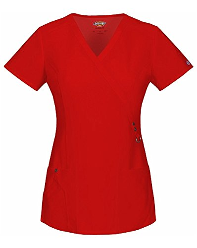 Xtreme Stretch by Dickies Women's Mock Wrap Solid Scrub Top Large Red (Red Womens Scrub Top)