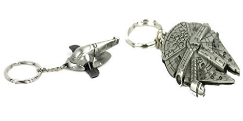 Star Wars Millennium Falcon with Boba Fetts Slave Ship Keychain Combo Gift Set ()