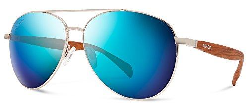 Abaco Burton Sunglasses Gold/Dark Brown Wood Style Frame Polarized Ocean Mirror - Cheap Customizable Sunglasses