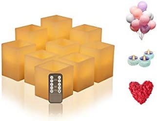 Flickering Flameless Candles Battery Operated, Led Candle Set of 9 D 3 x H 3 4 5 6 Square Ivory Wax and Amber Yellow Flame, auto-Off Timer Remote Control, Large Fake Battery Powered Candles