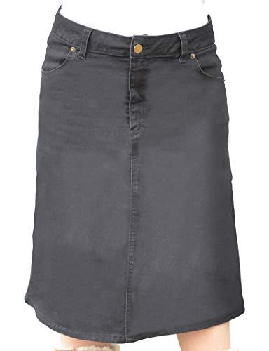 Kosher Casual Women's Modest Knee Length A-Line Stretch Denim Skirt with 4-Pocket Styling & No Slits Small Stonewash Black/Black Stitching ()