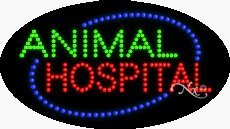 Animal Hospital LED Sign - 15 x 27 x 1 inches - Made in USA by Bright Neon Signs