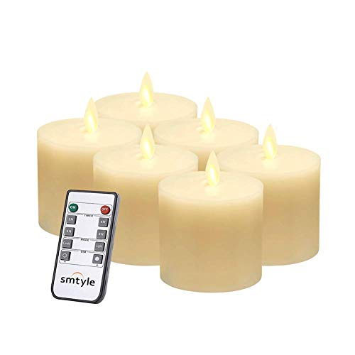 smtyle Led Flameless Candles for Fireplace Candelabra or Desk Decor Flickering White Light Moving Flame Wick Pillar Candle with Remote Control Timer Ivory 3x3 in Flat Top 6