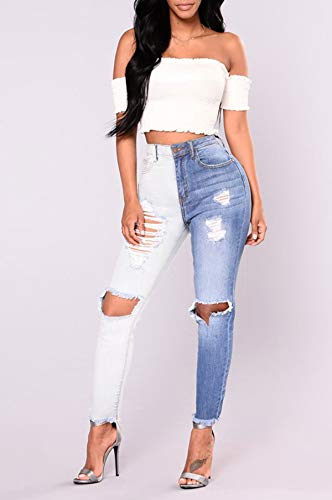 Jeans Taille Cass Trou Denim Mode Skinny Pants Personnalit Patchwork Crayon Haute Femme Pantalons Longue JackenLOVE Bleu Y6wxPpqy