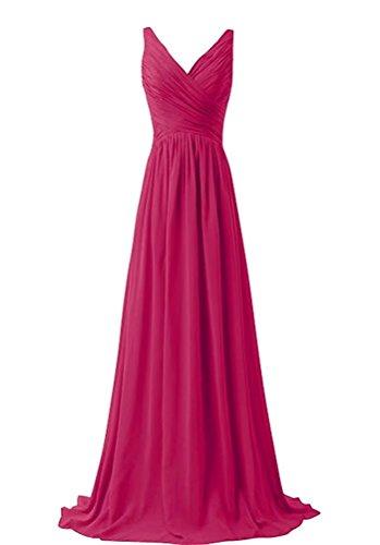 Ball 140 Fuchsie Brautjungfernkleider Abschlusskleid Chiffon Abendkleider Elegant Abiball Lange fnUwgzqxC