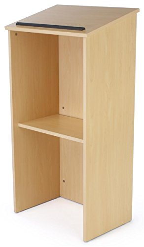 - Displays2go Full Floor Lectern Restaurant Podium Stand with Middle Storage Shelf - Natural Maple Finish (LCTKDMP)