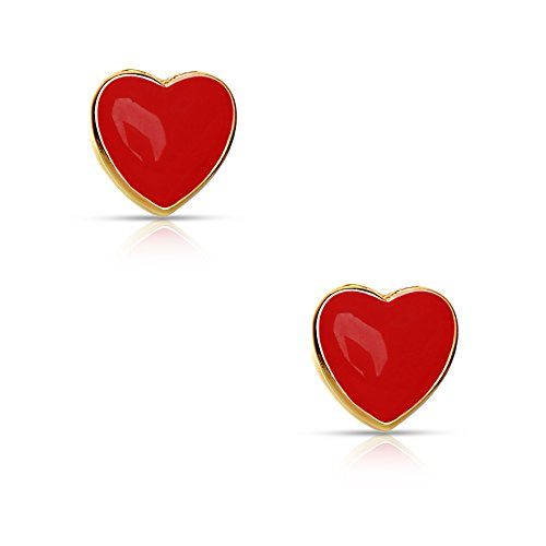 Jewelry for Girls - Heart Stud Earrings - 18k Gold Plated with Red Enamel - By Lily Nily