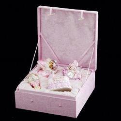 Ornament Glass Girl - Kurt Adler NB0017G Noble Gems Glass Baby Girl Ornament, 4 Piece Set