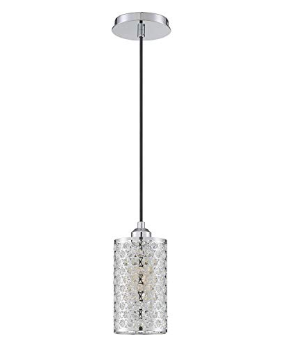 Seenming Lighting 1 Light Crystal Pendant Lighting with Chrome, Modern Style Ceiling Light Fixture with Polyhedral…