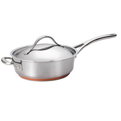 Anolon Nouvelle Copper Stainless Steel 3-Quart Covered Saute Pan with Helper Handle by Anolon