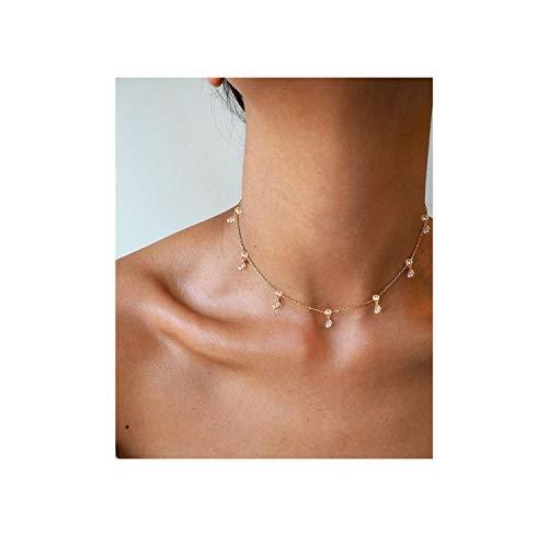 Eivanc Zircon Layered Metal Choker Necklace Handmade 18K Gold Zircon Gold Delicate Heart and Bar Bead Necklace Chokers -