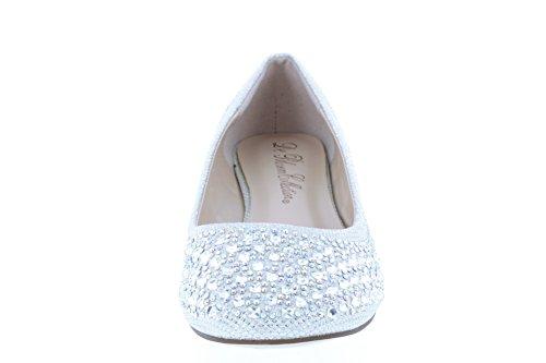 De Bloesem Collectie Womens Shimmer Fabric With Rhinestones Lichtgewicht Chic Ballet Witte Fonkeling